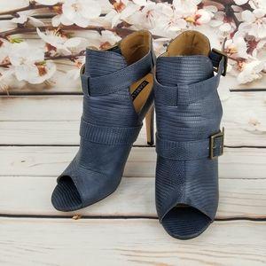 Izabella Rue blue snake skin open toe booties
